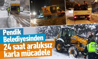 Pendik Belediyesinden 24 saat aralıksız karla mücadele